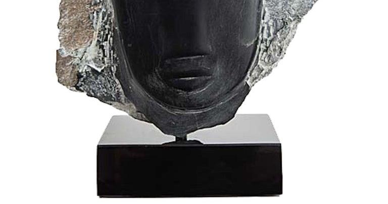Modern Wendy Hendelman Black Alabaster Head Sculpture, 2019 For Sale