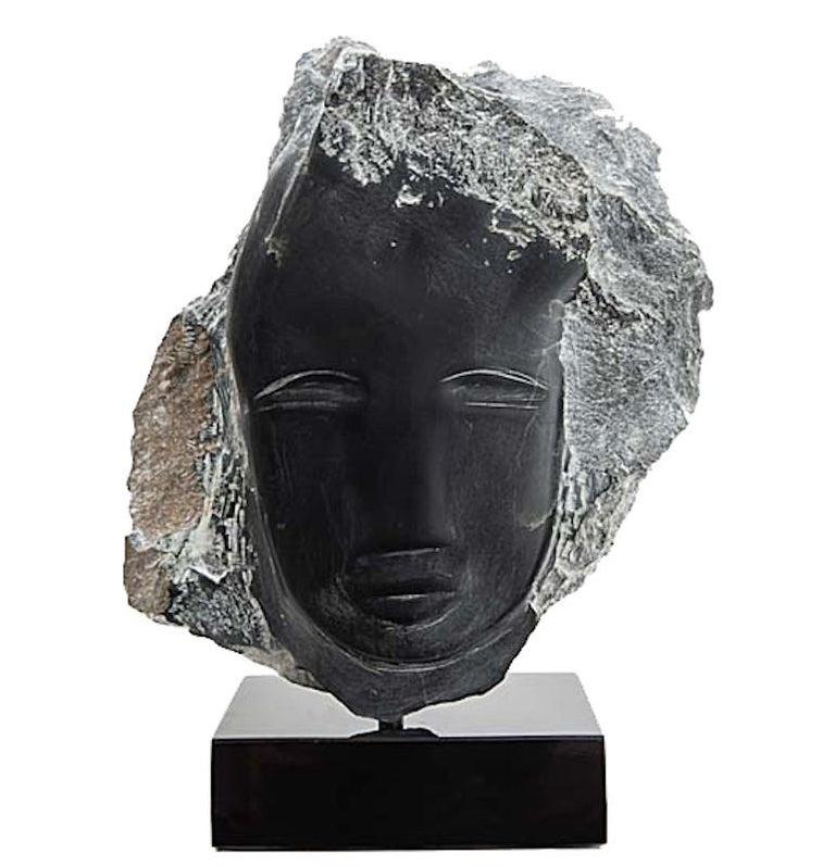American Wendy Hendelman Black Alabaster Head Sculpture, 2019 For Sale