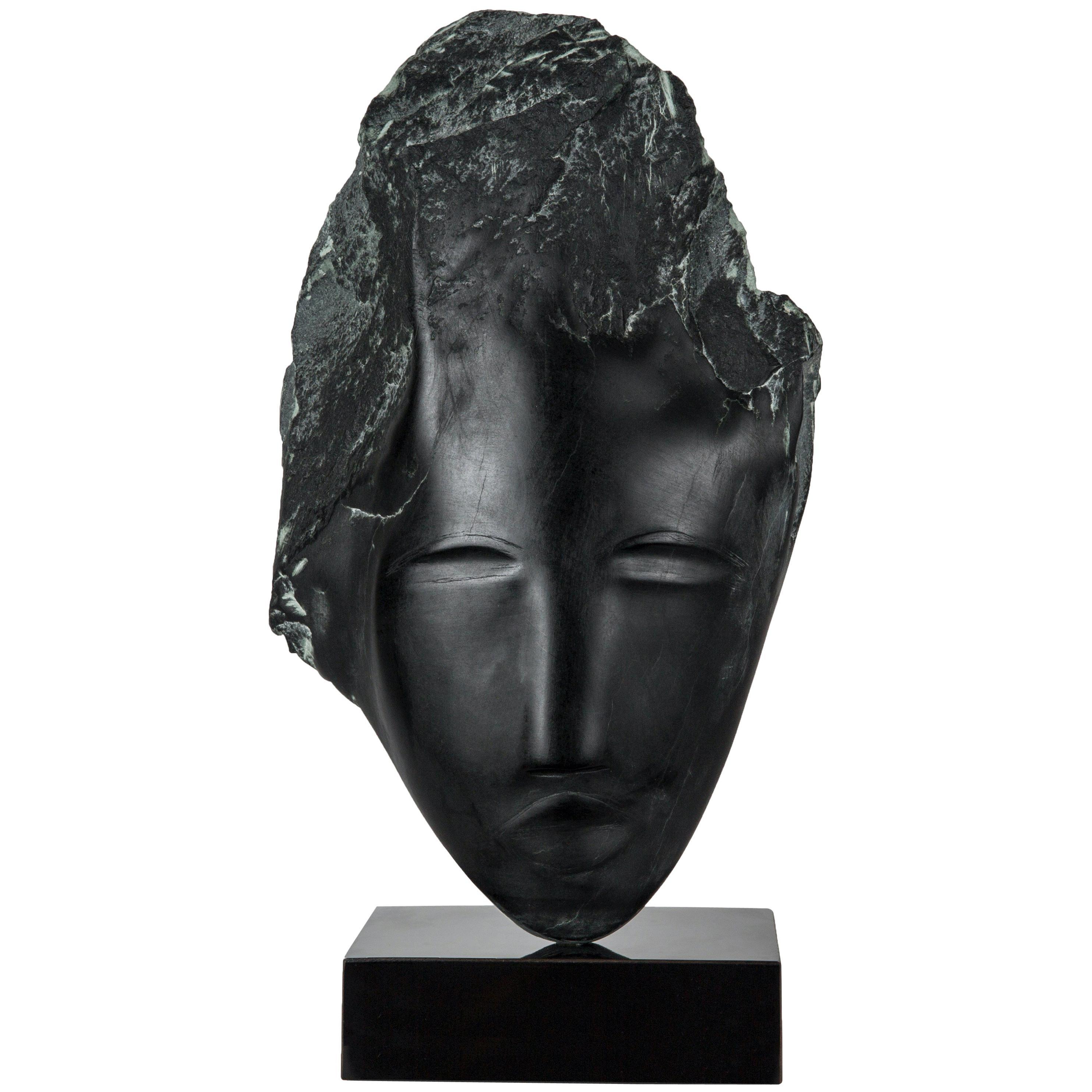 Wendy Hendelman Black Alabaster Head Sculpture, 2019