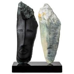 Wendy Hendelman Black and Green Alabaster Heads Sculpture, 2019