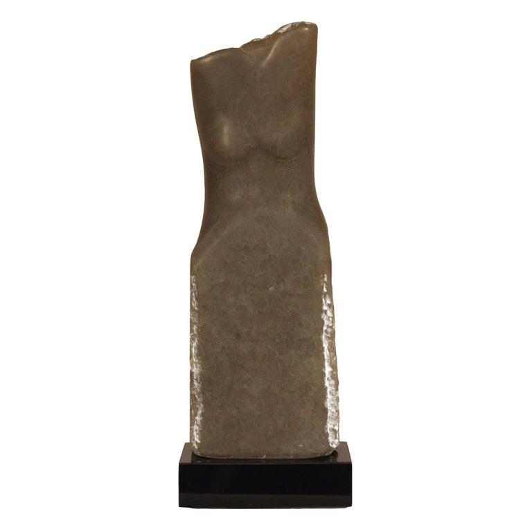 Wendy Hendelman Gray Alabaster Torso Sculpture, 2012 For Sale