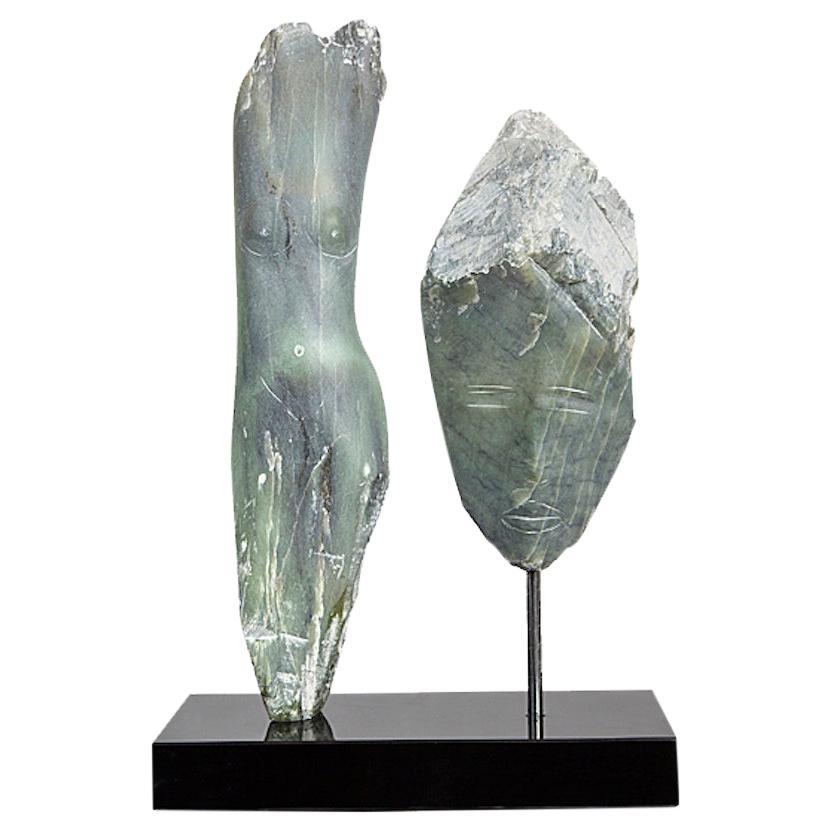 Wendy Hendelman Green Alabaster Head and Torso Sculpture, 2019