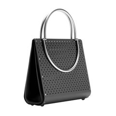 Wendy Stevens Black Stainless Steel Leather Washington Bag