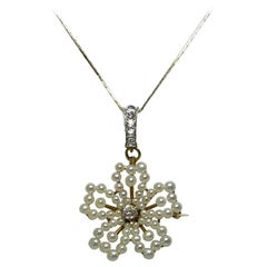Wendy Vanderbilt 1/2 Carat Diamond Pearl Pendant Brooch Antique Victorian