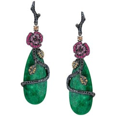 Wendy Yue 18 Karat Black Gold, Sapphire Roses and Green Jade Drop Earrings