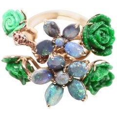 Wendy Yue Green Jade Blue Opal and Green Turquoise 18K Rose Gold Flower Ring
