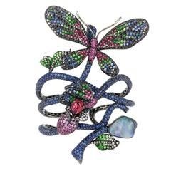 Wendy Yue 'Madame Butterfly' Sapphire Ruby Diamond Opal Tourmaline Gold Bracelet