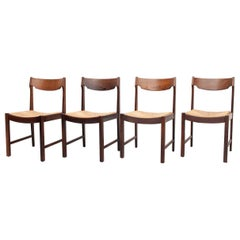 Wengé Dining Chairs Rattan Dutch, 1960s