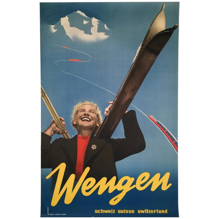 Wengen Swiss Ski Poster by P. Senn and P. Marti For Sale