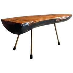 Werkstätte Carl Auböck Walnut Tree Trunk Coffee Table, Austria, circa 1950s