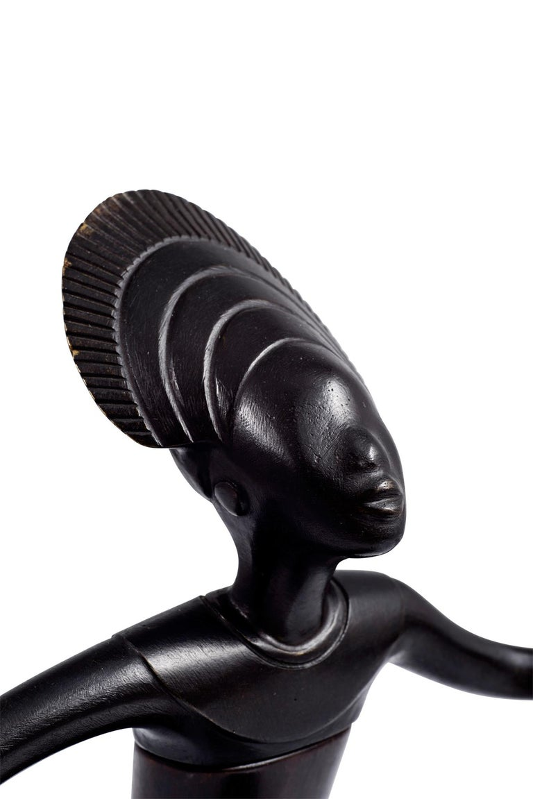 Cast Werkstätte Hagenauer African Priestess, circa 1950, Precious Wood, Brass, Marked For Sale