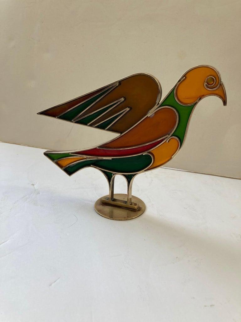 Mid-20th Century Werkstatte Hagenauer Wien, Dove/Bird, Resin/Brass, Sculpture, Signed For Sale