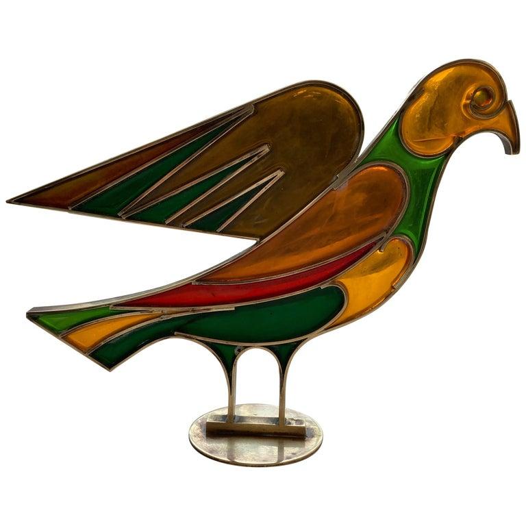 Werkstatte Hagenauer Wien, Dove/Bird, Resin/Brass, Sculpture, Signed For Sale