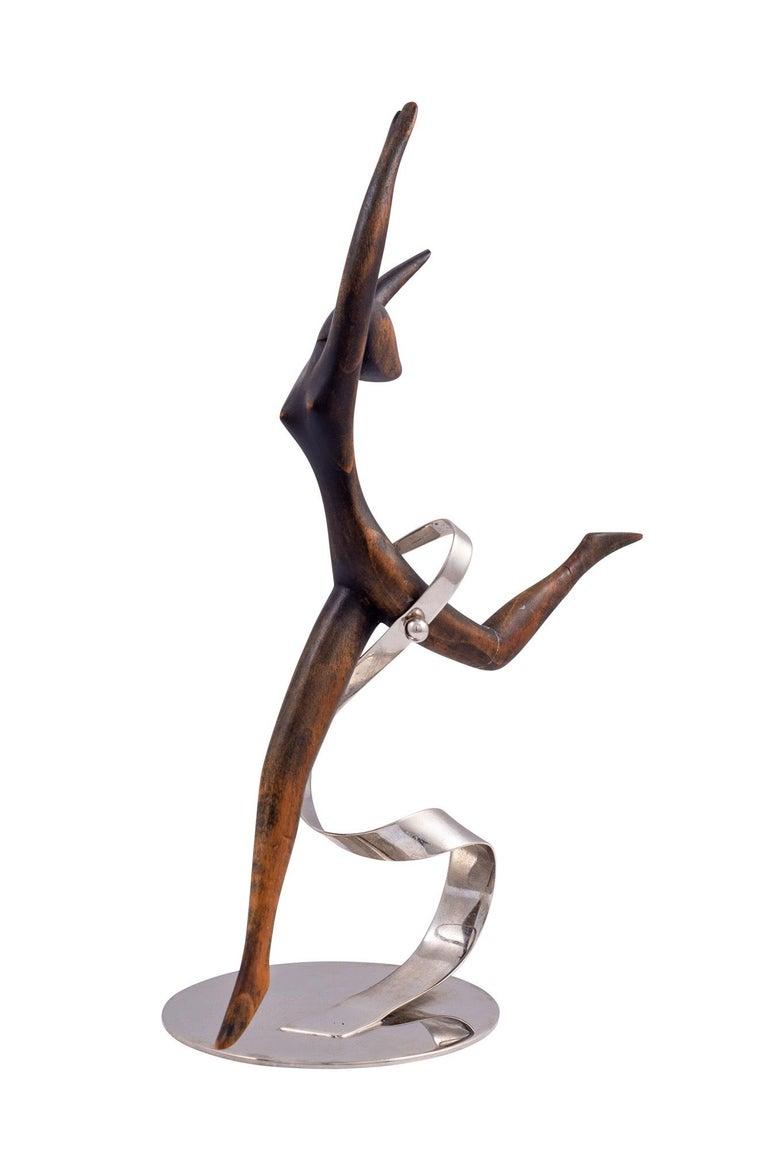 Art Deco Werkstätte Hagenauer Wooden Dancer Brass Nickel-Plated For Sale
