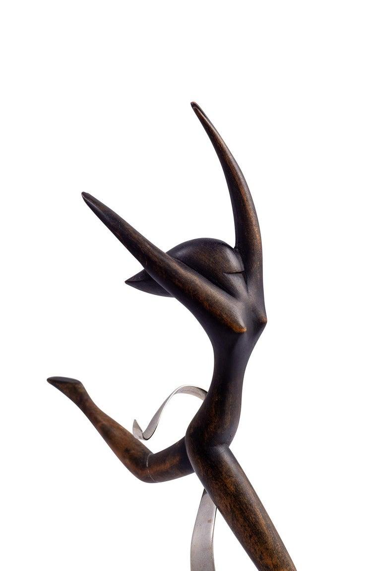 Austrian Werkstätte Hagenauer Wooden Dancer Brass Nickel-Plated For Sale