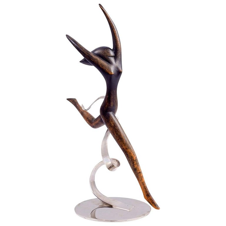 Werkstätte Hagenauer Wooden Dancer Brass Nickel-Plated For Sale