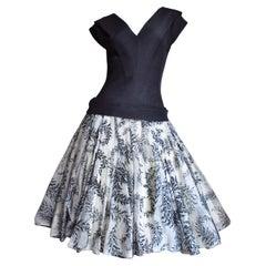 Werle 1950s Silk Dress with Full Skirt