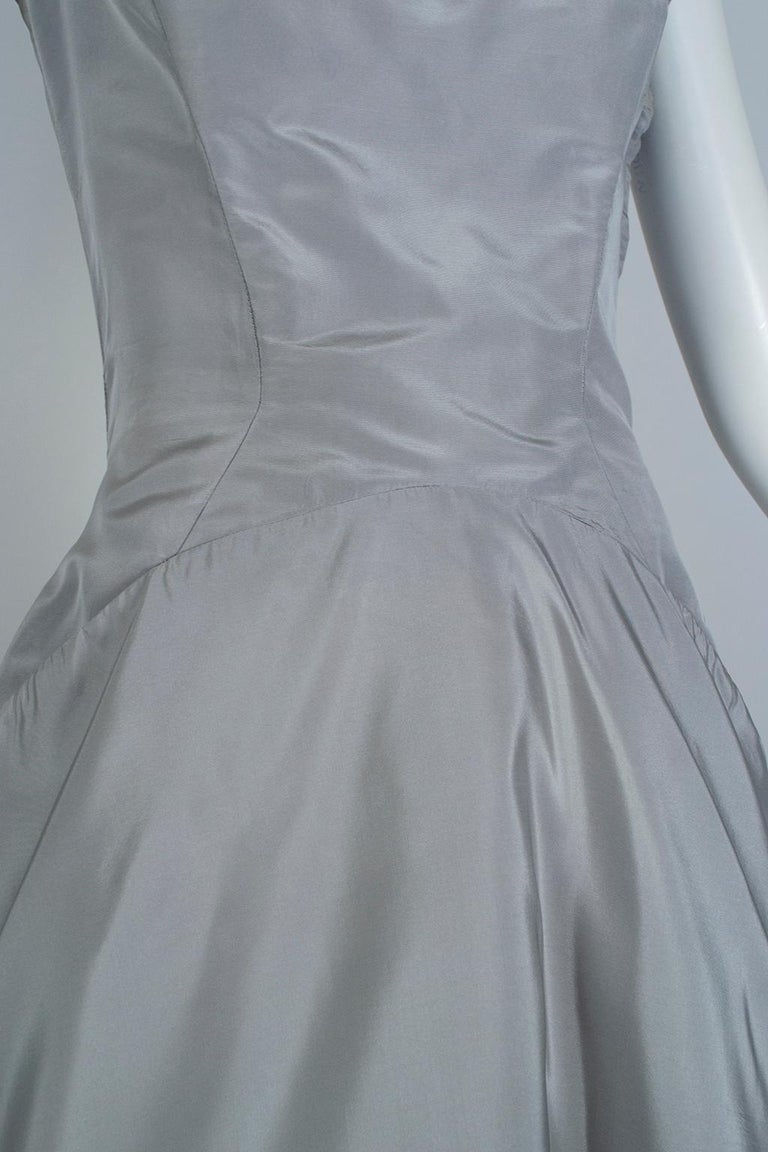 Werlé Beverly Hills Dove Gray Bib-Front Ballerina Dress - Medium, 1950s For Sale 4