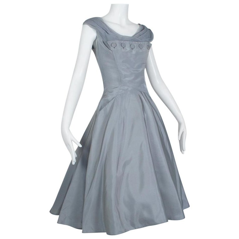 Werlé Beverly Hills Dove Gray Bib-Front Ballerina Dress - Medium, 1950s For Sale