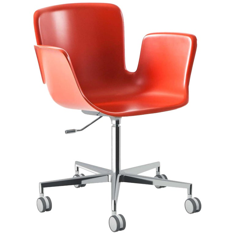 For Sale: Orange (Vermillion RAL 2002) Werner Aisslinger Juli Plastic Chair in Polished Aluminum for Cappellini