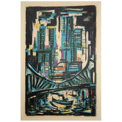 Werner Drewes Bauhaus Artist Color Woodblock, 1954, Manhattan