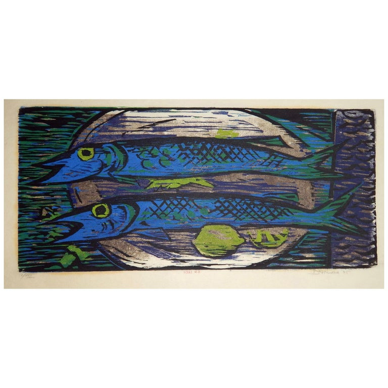Werner Drewes Bauhaus Artist Color Woodblock, 1955, Still Life with Blue Fish
