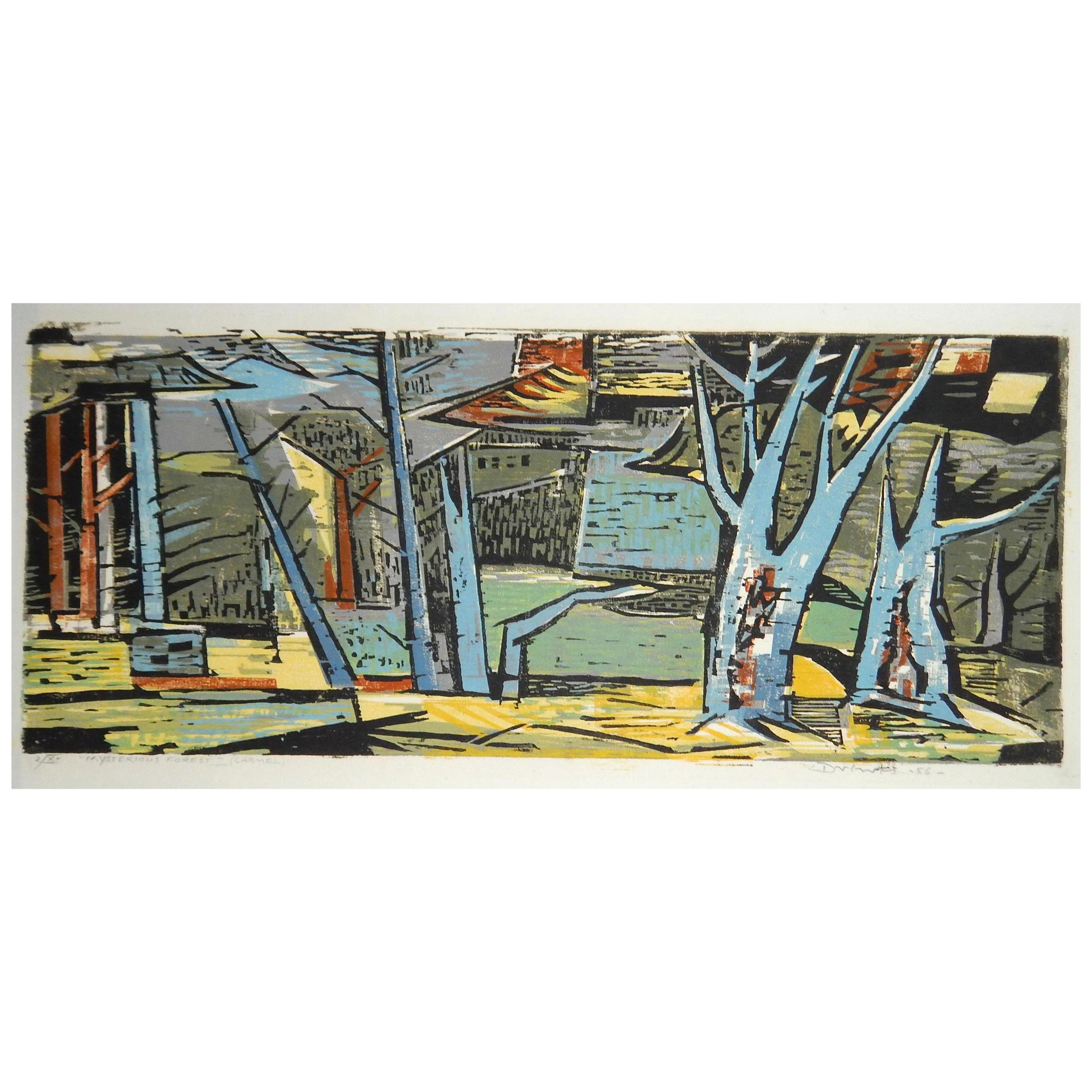 Werner Drewes Bauhaus Artist Color Woodblock, 1956, Mysterious Forest