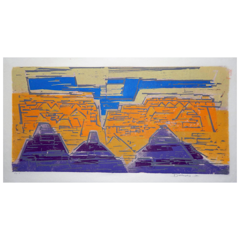 Werner Drewes Bauhaus Artist Color Woodblock, 1964, Grand Canyon