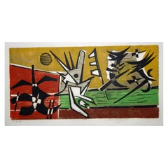 Werner Drewes Bauhaus Artist Color Woodblock, 1973, At Play No. 3 'Fight'