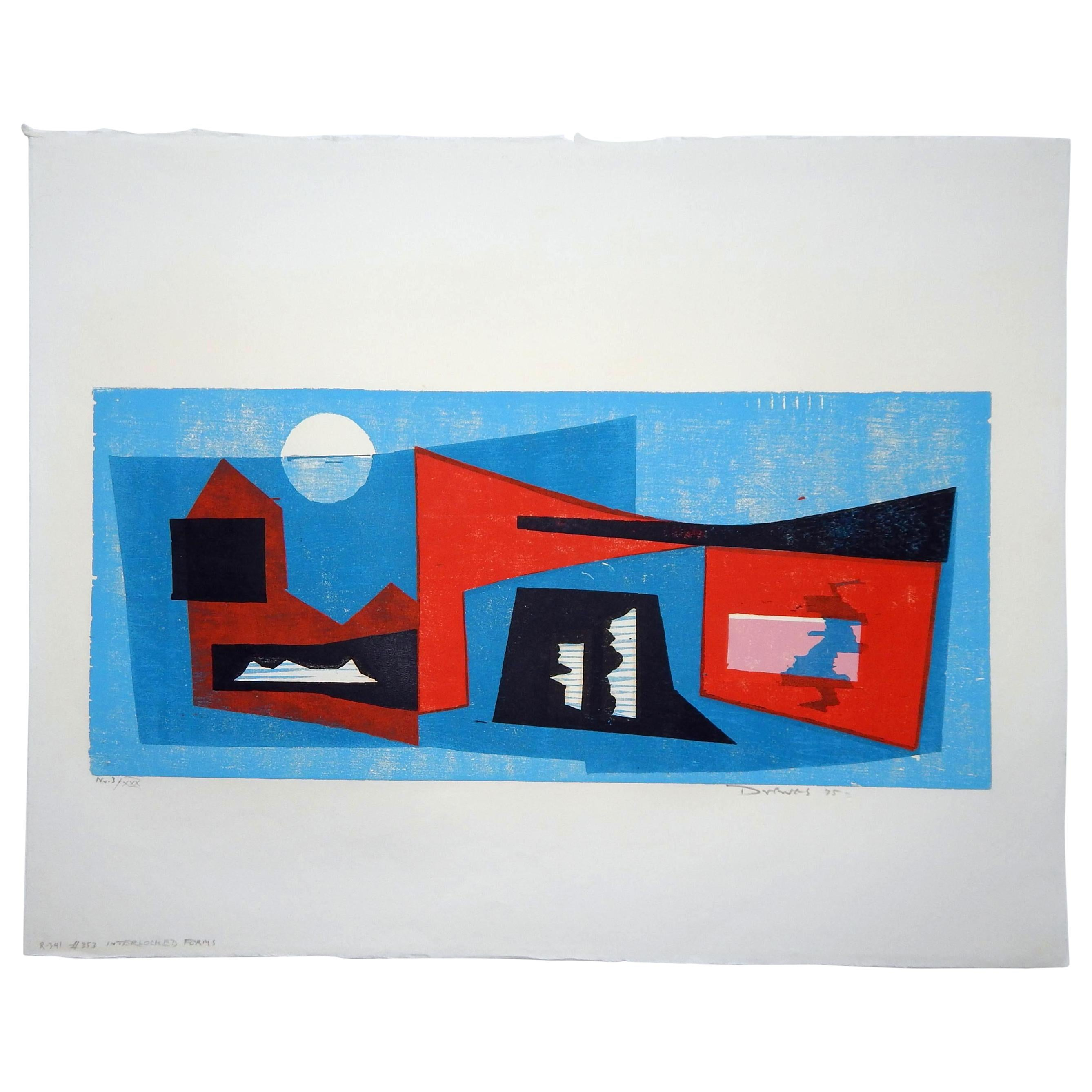 Werner Drewes Bauhaus Artist Color Woodblock, 1975, Enterlocked Forms