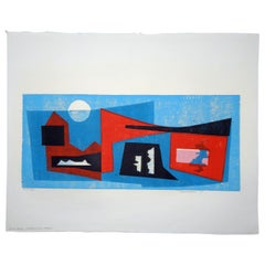 Werner Drewes Bauhaus Artist Color Woodblock, 1975, Enterlocked Forms