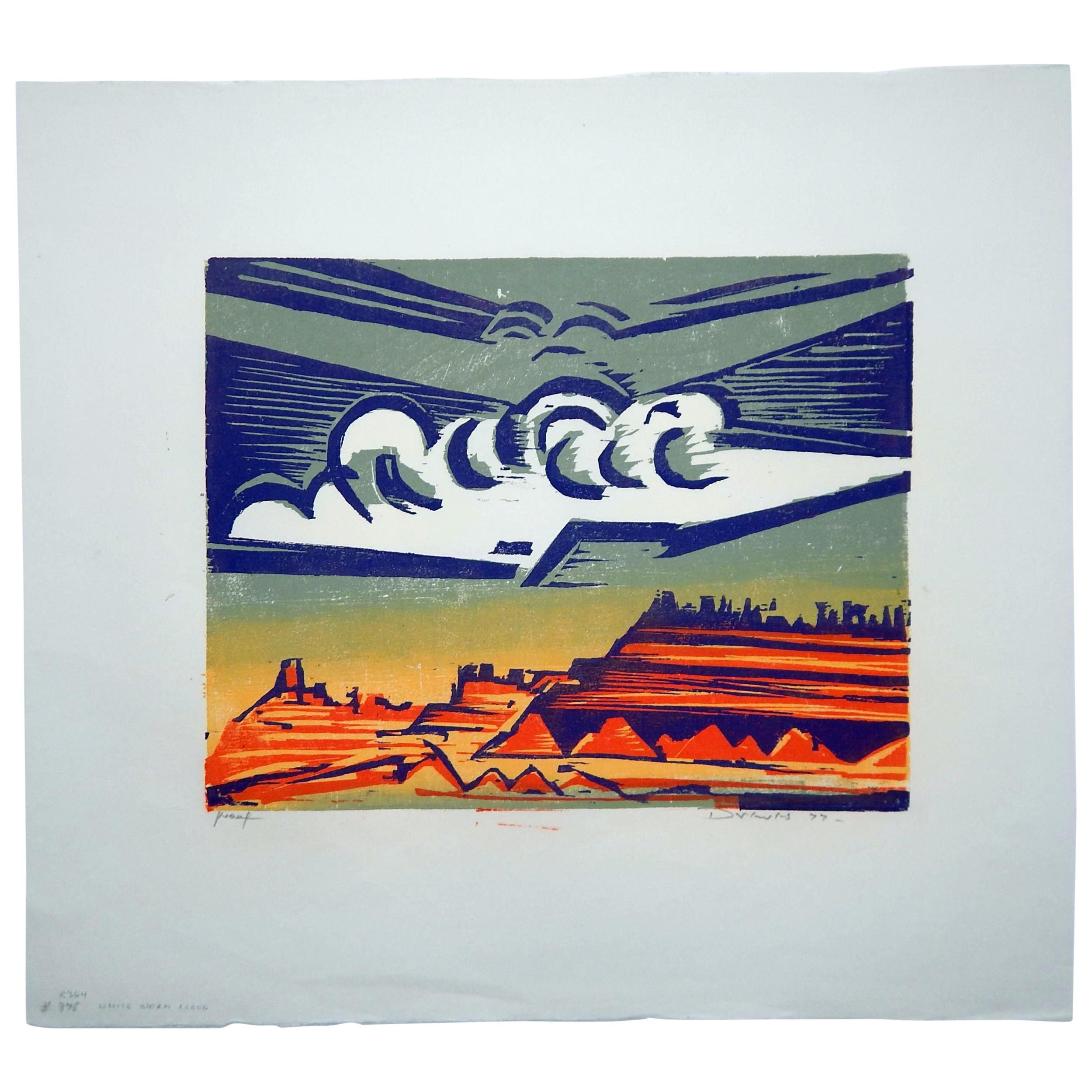 Werner Drewes Bauhaus Artist Color Woodblock, 1977, White Storm Cloud