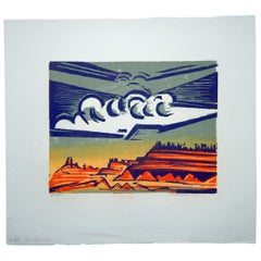 Werner Drewes Bauhaus Artist Color Woodblock, 1977, White Storm Cloud