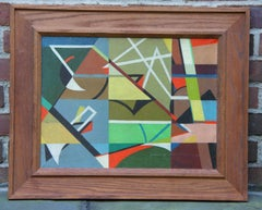 WPA Modern Mid-Century Abstract German American Oil Painting Non Objective