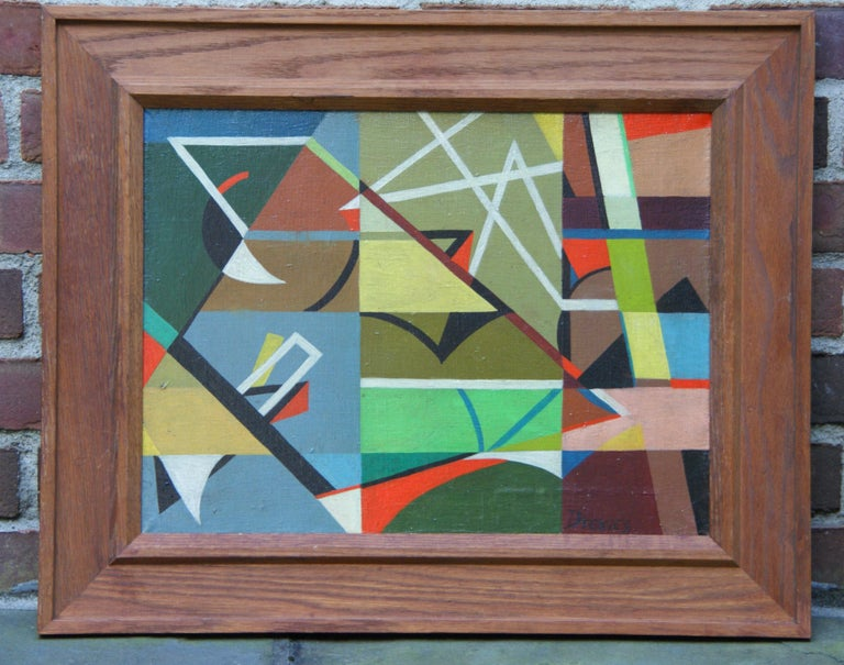 WPA Modern Mid-Century Abstract German American Oil Painting Non Objective For Sale 1