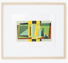 Werner Drewes Woodblock Print Cubist Colorful Rare Framed Green Black Red 1982