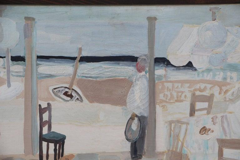 Swiss Werner Holenstein Oil on Linen of a Bar Scene For Sale