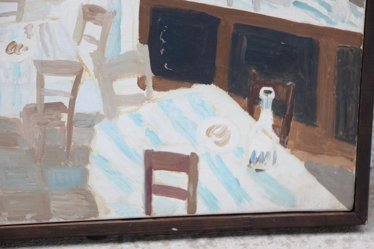 Werner Holenstein Oil on Linen of a Bar Scene In Good Condition For Sale In Palm Springs, CA