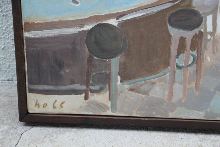 Mid-20th Century Werner Holenstein Oil on Linen of a Bar Scene For Sale