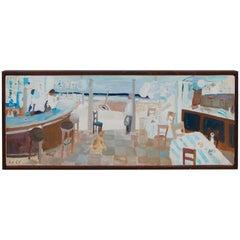 Werner Holenstein Oil on Linen of a Bar Scene