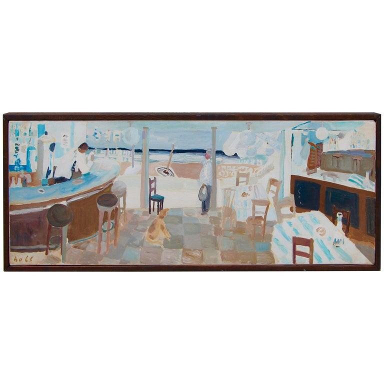 Werner Holenstein Oil on Linen of a Bar Scene For Sale
