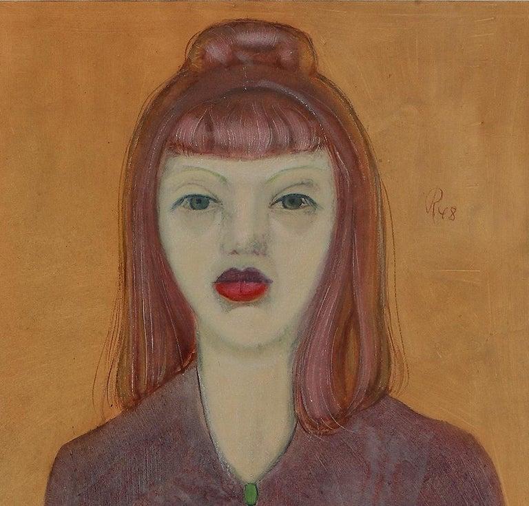 Gouache Mädchen mit Katze  ( Girl with a Cat ) by Werner Reifahrt 1948 - Orange Portrait Painting by Werner Reifarth
