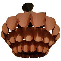 Werner Schou Copper Ceiling Lamp 1970s for Coronell Elektro, Denmark