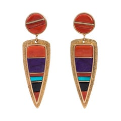 Wes Willie Coral, Onyx, Sugilite, Turquoise and Gold Earrings