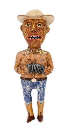 "Accordion Man ""Flaco"", 2018, ceramic earthenware sculpture"