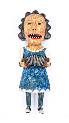 Lady With Concertina, 2018, ceramic earthenware sculpture