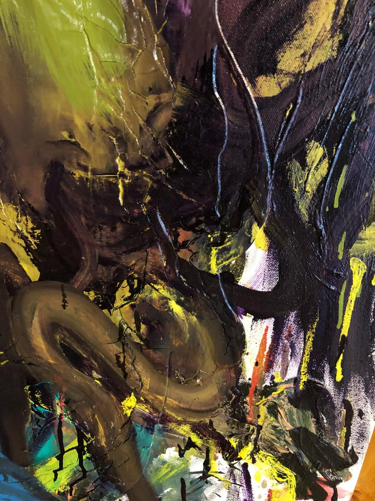 Cyclops - Original Abstract Oil Painting, Bright Yellow and Black with Figures For Sale 1