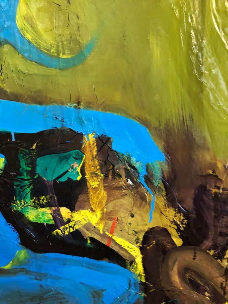Cyclops - Original Abstract Oil Painting, Bright Yellow and Black with Figures For Sale 2
