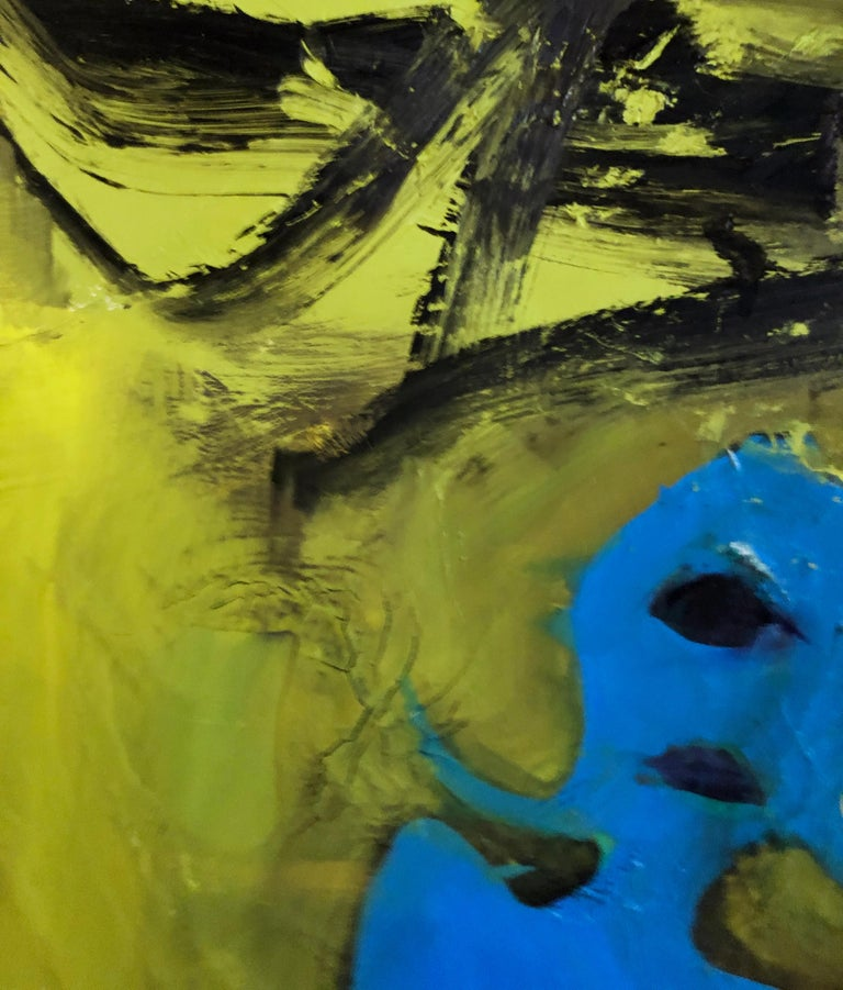 Cyclops - Original Abstract Oil Painting, Bright Yellow and Black with Figures For Sale 3