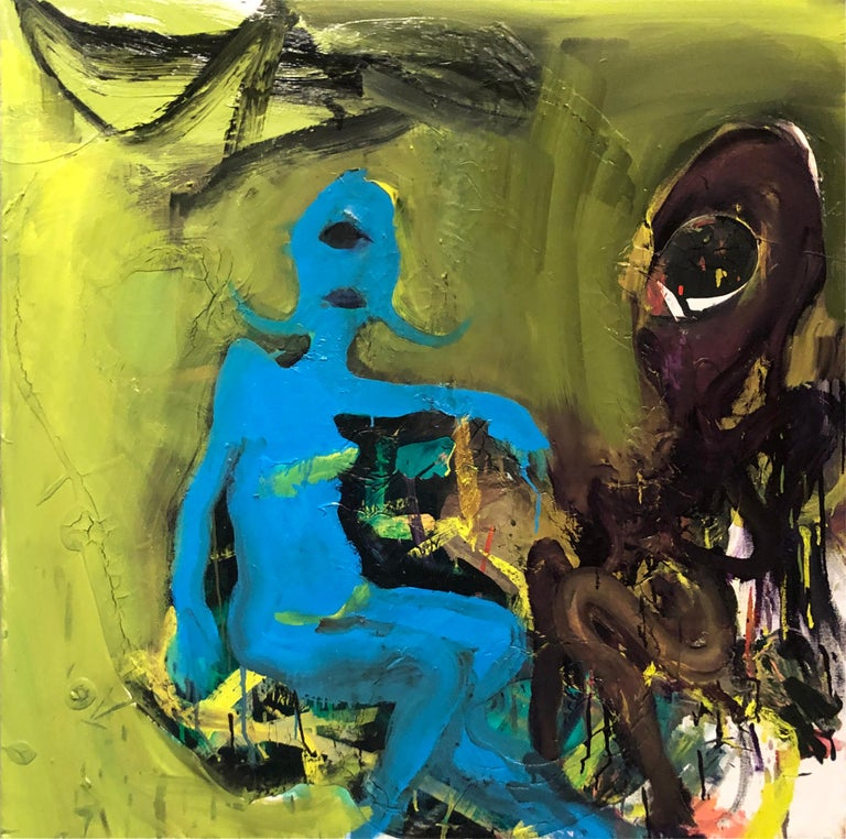 Wesley Kimler Figurative Painting - Cyclops - Original Abstract Oil Painting, Bright Yellow and Black with Figures